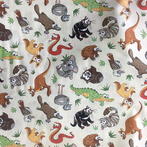 Nutex Australiana Animal Crackers Novelty Quilt Fabric