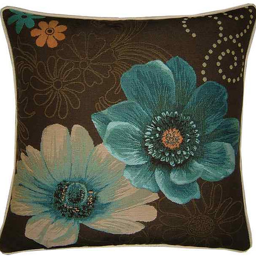 Gerbera Blue Flowers Tapestry Cushion Cover