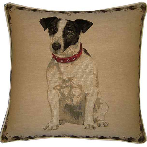 Jack Russell Argyll Check Tapestry Cushion Cover