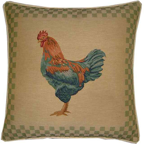 Blue Rooster Green Check Tapestry Cushion Cover