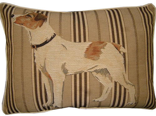 Jack Russell Standing Oblong Stripe Tapestry Oblong Cushion Cover