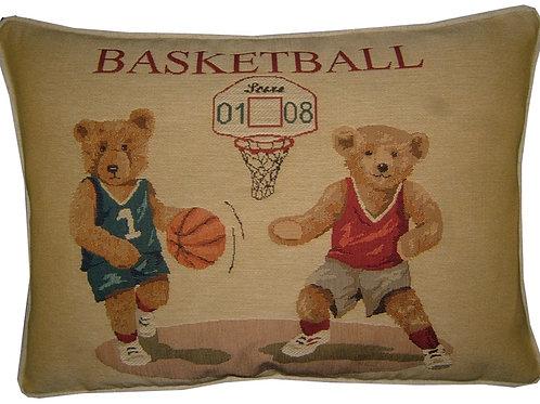 Basketball Teddy Bears Tapestry Oblong Cushion Cover