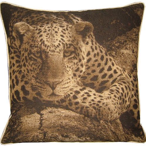 Savannah Leopard Sepia Tapestry Cushion Cover