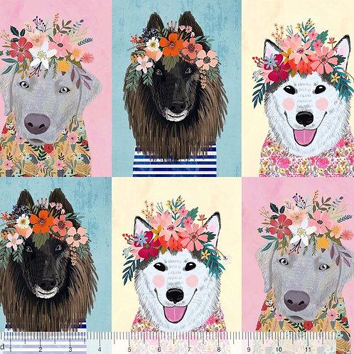 "Blend More Floral Pets Dogs 30cm / 12"" Quilt Fabric"