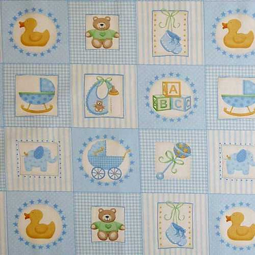 Makower Baby Boy Blue Card Making Quilt Fabric