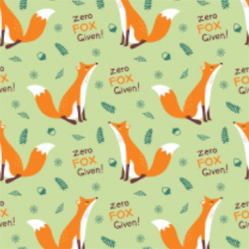 "Camelot Punny Design ""Zero Fox Given"" Fox Quilt Fabric"