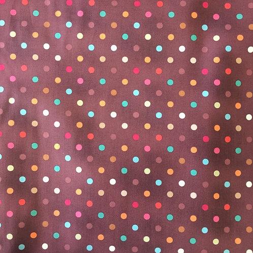 Makower Mocha Coffee Multicoloured Spots Quilt Fabric