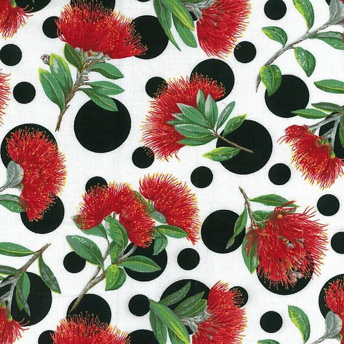 Nutex Kiwiana Spot the Pohutukawa Quilt Fabric