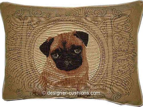 Medallion Pug Light Tapestry Oblong Cushion Cover