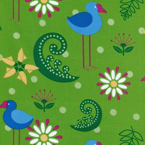 Nutex Kiwiana Retro Reflections Pukeko Quilt Fabric
