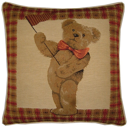 Red Teddy Bear Flag Tapestry Cushion Cover
