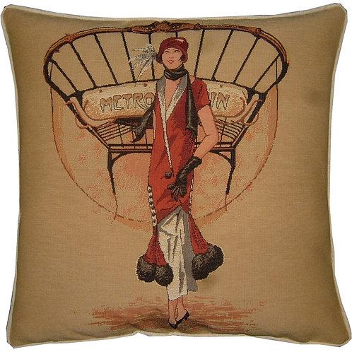 Paris Metro Fashion Tapestry Cushion Cover