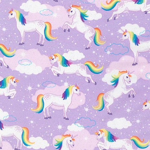 Robert Kaufman Glitter Enchanted Unicorns Lilac19047- Quilt Fabric