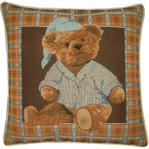 Blue Teddy Bear Night Time Tapestry Cushion Cover