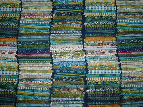 Makower Stash Blue Stash Piles Sewing Novelty Quilt Fabric