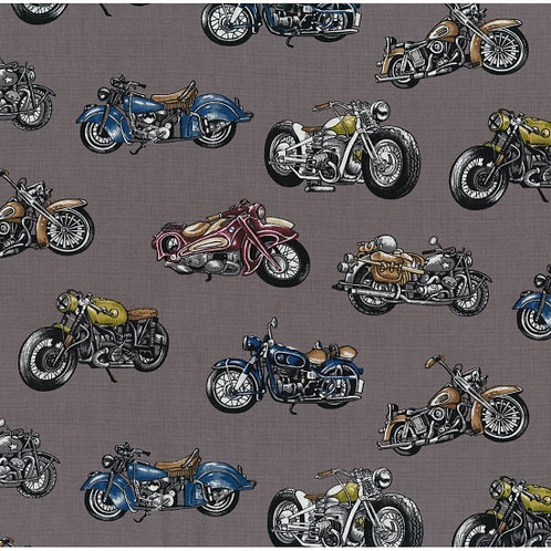 Nutex Novelty Classic Ride Motorbikes Quilt Fabric 89800
