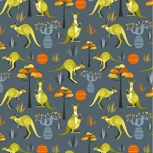 Nutex Australiana Wild & Free Kangaroos 11730 Col1 Quilt Fabric
