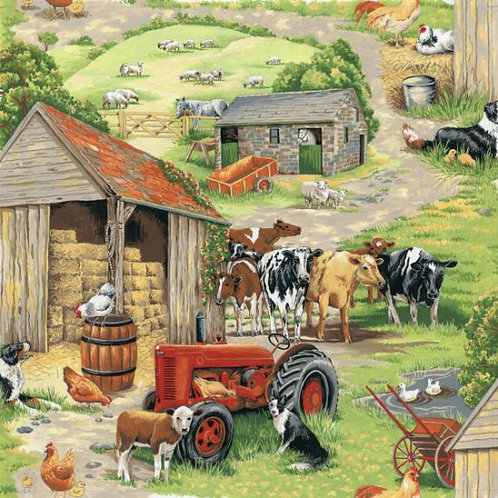 Nutex In The Country Farmyard Scenic Novelty Quilt Fabric
