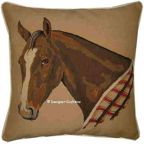 Bay Horse in Blanket Tapestry Cushion Cover