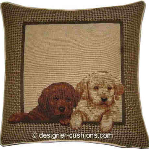 Labrador Puppies in Frame Tapestry Cushion Cover