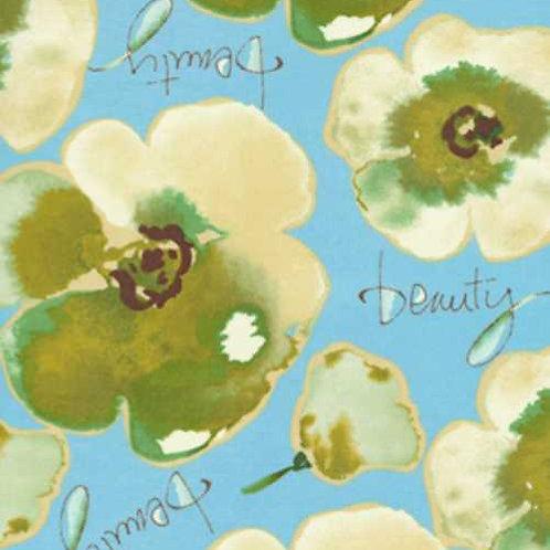 Kathy Davis JOURNEYS Floral Beauty Blue Quilt Fabric