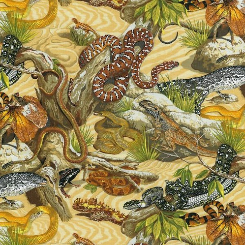 Nutex Novelty Reptiles Snakes Lizards Novelty Quilt Fabric