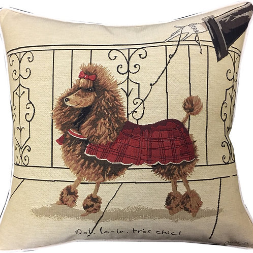 Alex Clark French Poodle Tapestry Cushion Cover