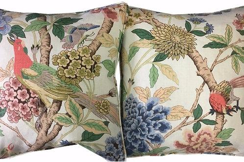 Pair of G P & J Baker 'Hydrangea Bird' Lt Green Linen Cushion Covers