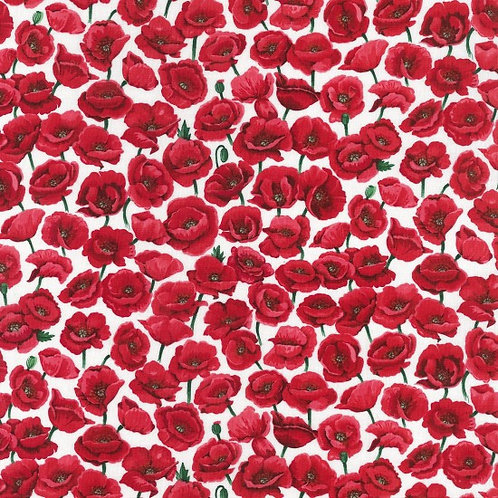 Nutex Poppies Field White 80060 Col 3 Quilt Fabric