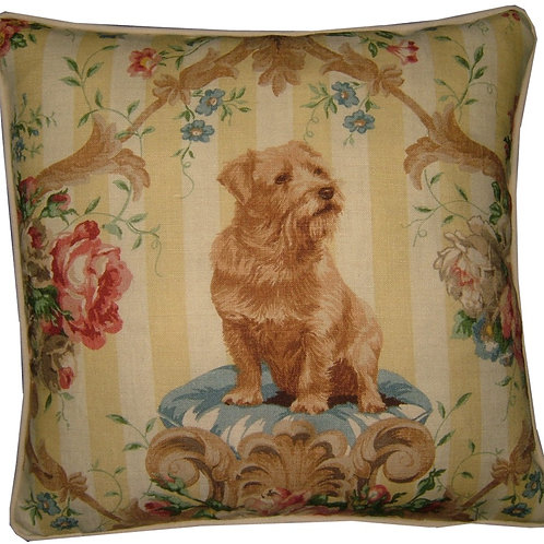 "Lee Jofa ""Putting on the Dogs"" Norfolk Terrier Cushion Cove"