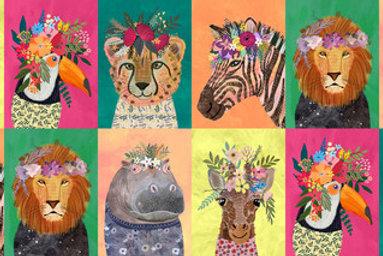 "Blend Jungle Mania Floral Wild Animals 30cm / 12"" Quilt Fabric"
