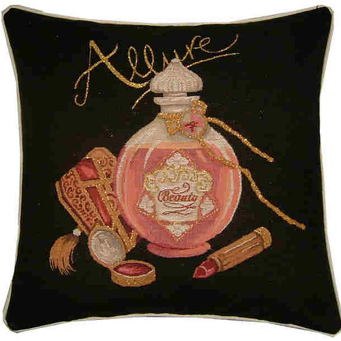Allure Perfume & Lipstick Metallic Tapestry Cushion Cover