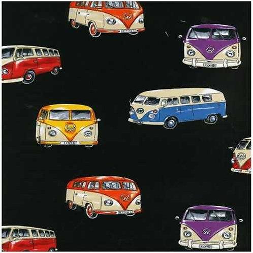 Nutex Novelty On Tour Campervans Black Quilt Fabric