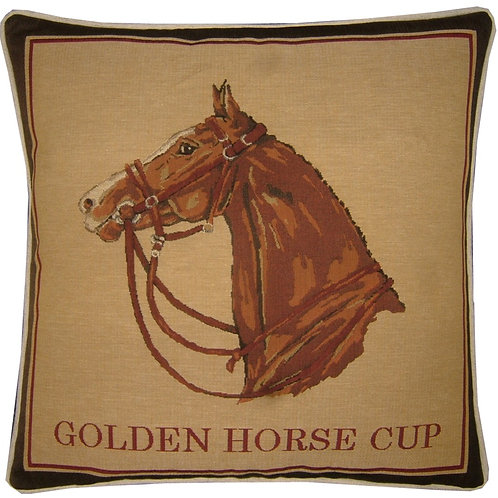Golden Horse Cup Tapestry Cushion Cover