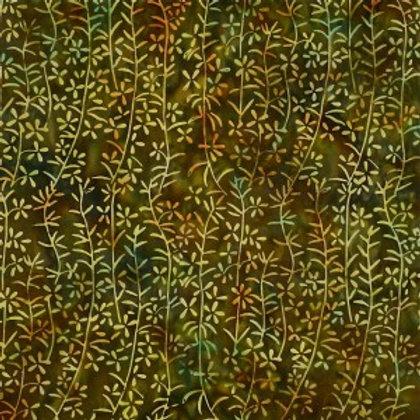 Mirah Zriya Green Curry Batik Heron Brown P/GC-07-7307 Quilt Fabric