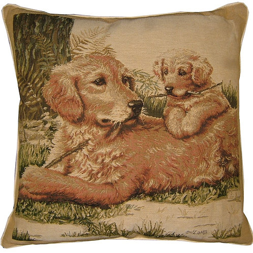 Golden Retriever and Puppy Tapestry Cushion Cover