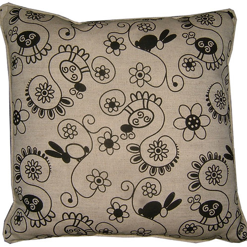 Floral Rabbits Linen Cushion Cover