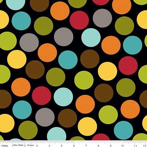 Riley Blake Puppy Park C2952-BLACK Park Dot Black Quilt Fabric