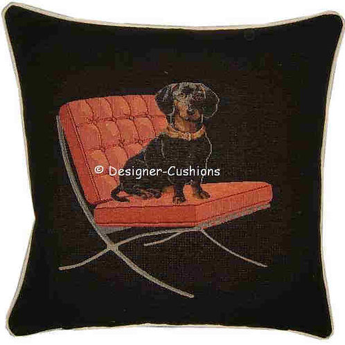 Dachshund Red Chair Tapestry Cushion Cover