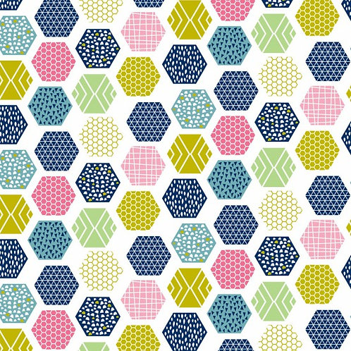 Nutex Novelty Wildflower Honey White Hexagons 80270 Col4 Quilt Fabric