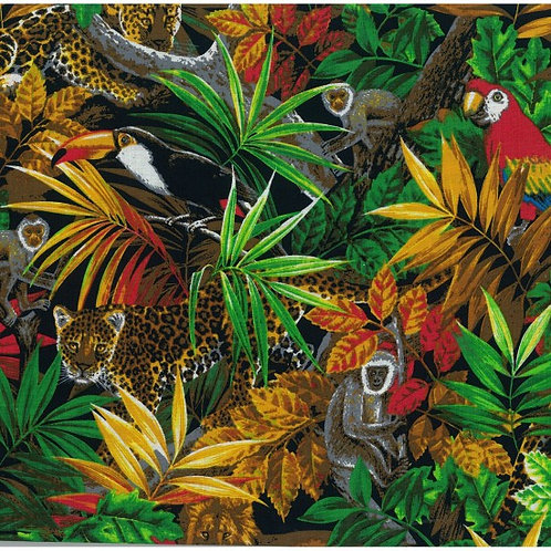Nutex Jungle Life Exotic Birds, Baboons Wild Animal Novelty Quilt Fabric
