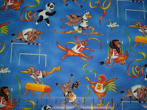 Nutex Novelty The Games Animals Sports Blue Col 2 Novelty Quilt Fabric