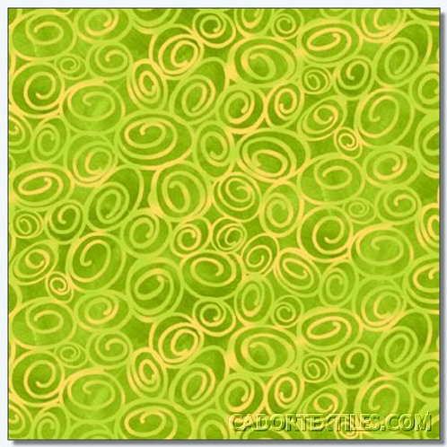 Tara's Brights Green Swirls Quilt Fabric