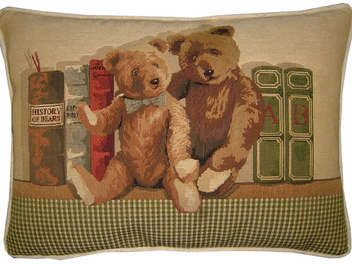 2 Teddy Bears Bookshelf Tapestry Oblong Cushion Cover