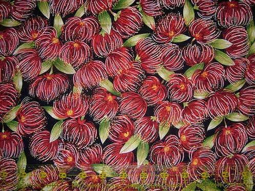 Nutex Kiwiana Pohutukawa Blossoms Navy Background Quilt Fabric