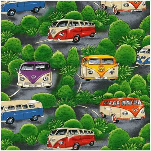 Nutex Novelty On Tour Campervans Green Quilt Fabric