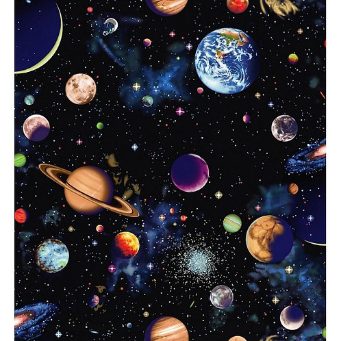 "Nutex Novelty Solar System 60cm / 24"" pattern repeat Quilt Fabric"