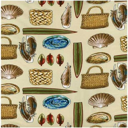Nutex Kiwiana Kiwi Icons Manatunga Quilt Fabric Cream Col 1