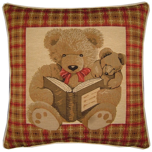 Red Teddy Bear Night Time Stories Tapestry Cushion Cover