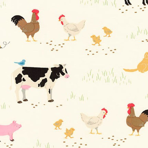 Robert Kaufman What Do the Animals Say Ivory Farmyard Quilt Fabric 18061